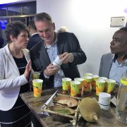 Our Managing Director Meinolf Kuper & Dr. Rugaimukamu illustrate our commitment in Tanzania with the help of a delicious smoothie to GIZ CEO, Dr. Tanja Goenner.